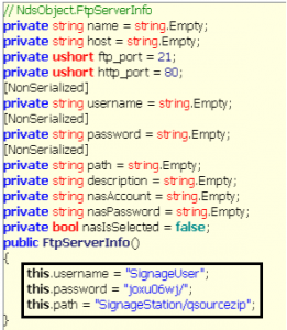 Figure 4 - Hard-coded credentials in iArtist application