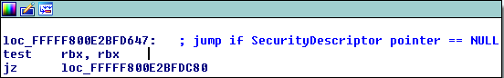 Checking if the entire pointer to the SecurityDescriptor is zero