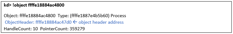 Getting address of object header