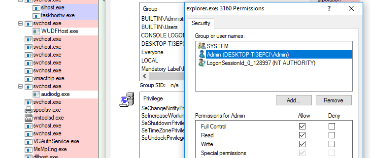 Windows Explorer default permissions