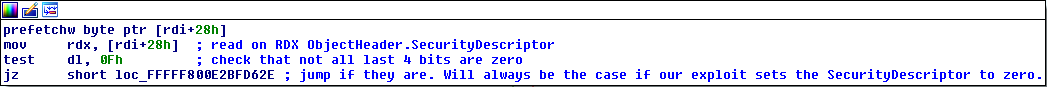 Checking if the last 4 bits of the pointer to the SecurityDescriptor are set to zero