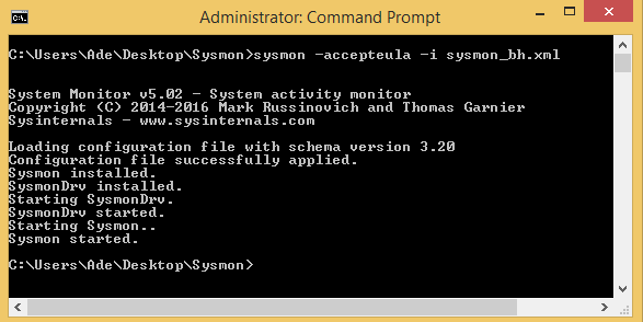 Successful sysmon installation