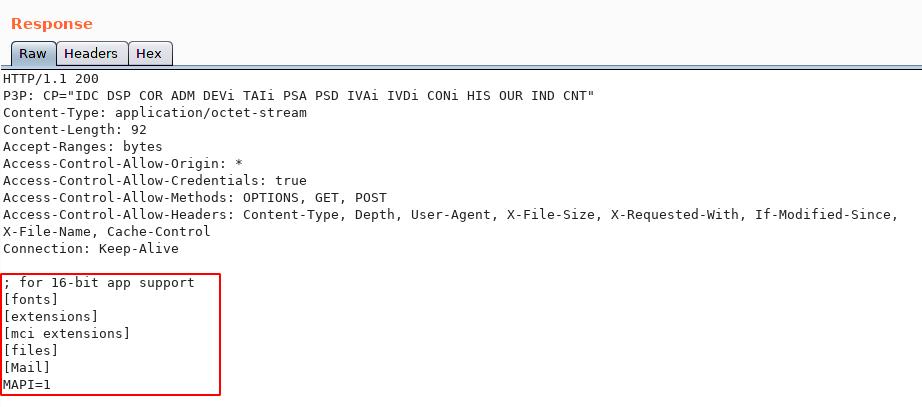 Local File 'win.ini' Displayed within Server Response