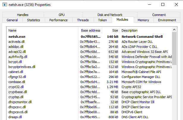 The module is not loaded in a genuine netsh process and the .NET tabs are not available.