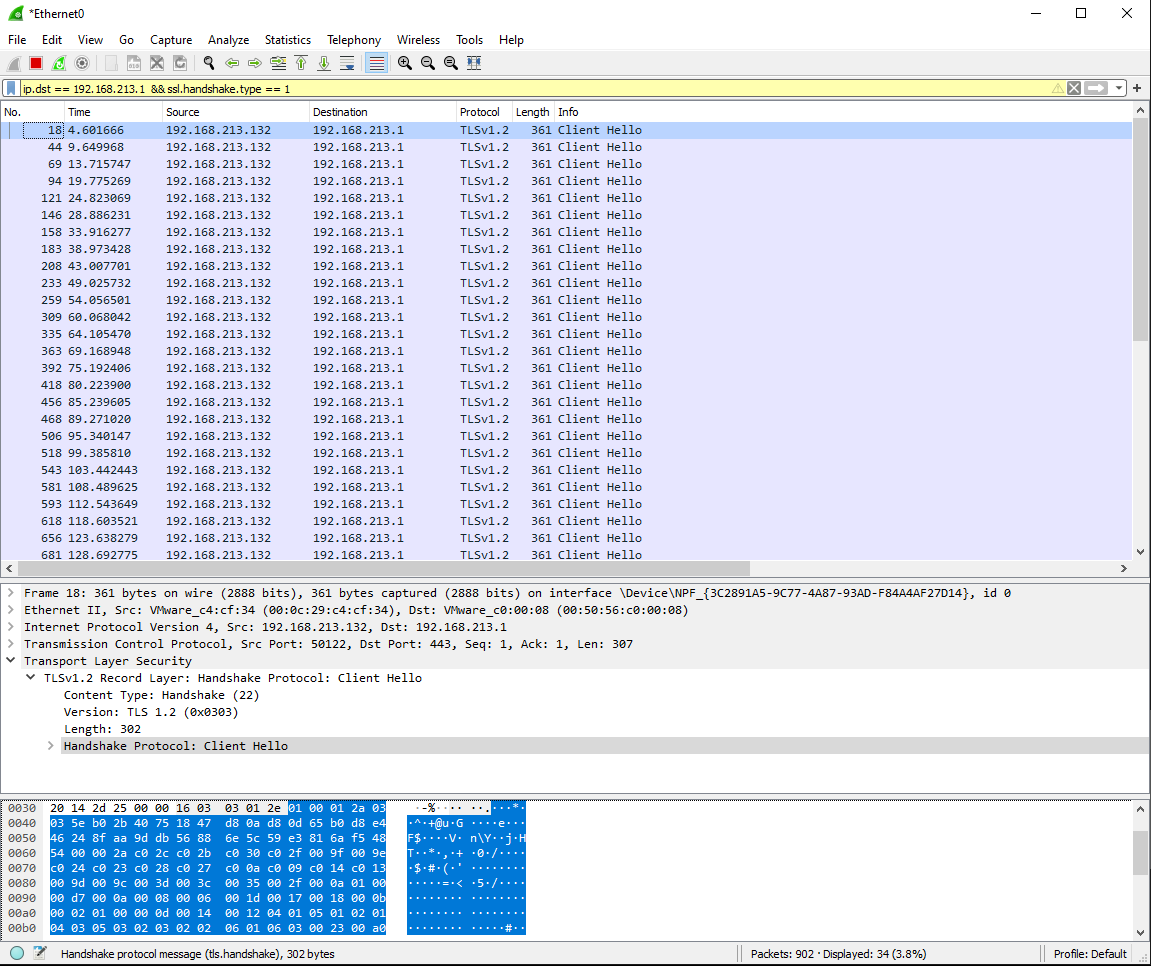 We can see the difference between each session initialisation is between 4 and 6 seconds.