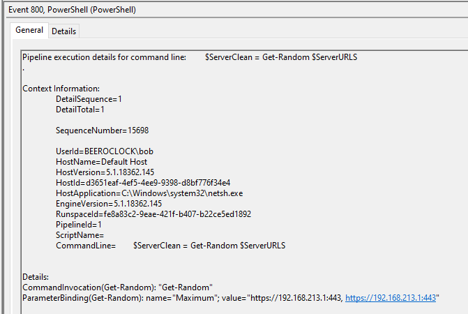 The $ServerClean variable is specific to PoshC2 and a clear IoC.